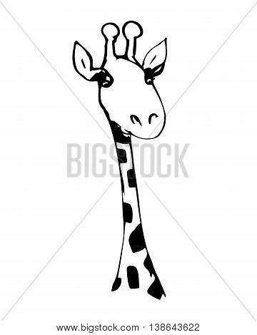 Abstract drawing of a head of a giraffe in black and white vector illustration