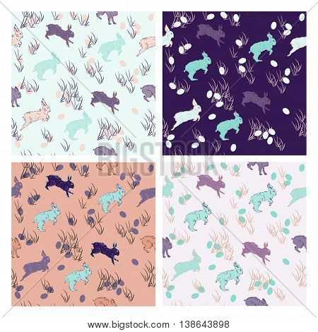 Vector set of seamless patterns with rabbits. Hand drawn. Retro colored rabbit pattern for textil paper polygraphy game web design