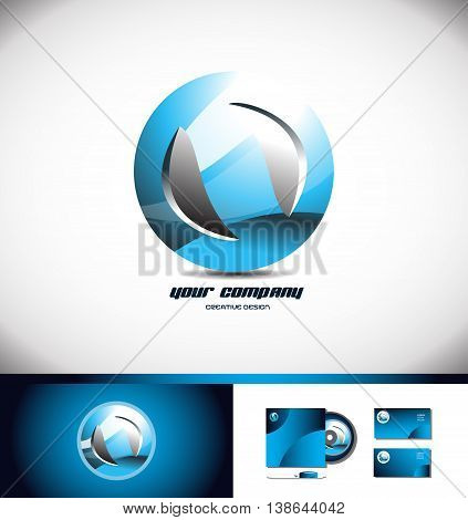 Vector company logo icon element template sphere abstract circle blue 3d concept globe global