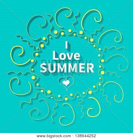 Summer Sun, Seaside view poster. Vector background illustration