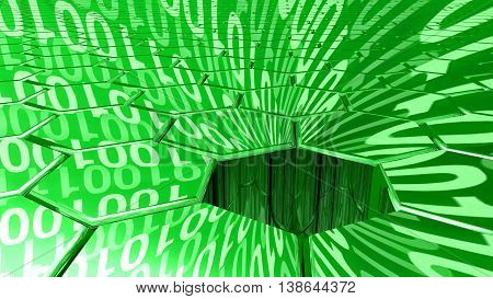 Big data concept digital green stream reflecting on a hexagon grid surface and a sinkhole absorbing all the datastreams 3D illustration