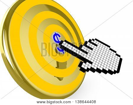 Pixelated hand cursor clicks on the center of a golden target with a blue dollar symbol 3D illustration pay per click concept
