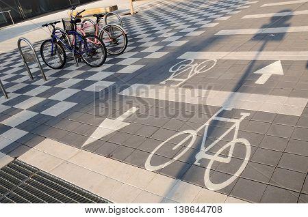 Arrow signs for bicycle road in modern Tel Aviv.