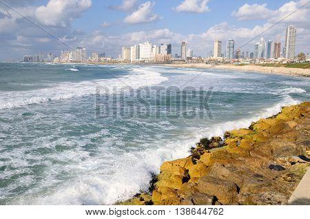 View to the Tel Aviv coastal line. Israel.