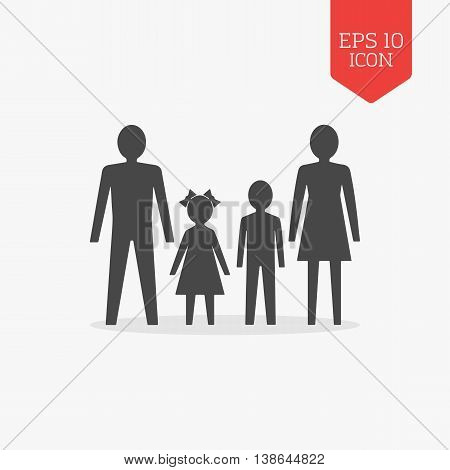 Man, Woman And Children Icon. Family Concept. Flat Design Gray Color Symbol.