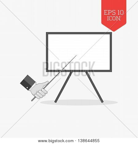 Whiteboard Presentation Concept Icon. Flat Design Gray Color Symbol. Modern Ui Web Navigation, Sign.