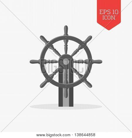 Steering Wheel Icon. Flat Design Gray Color Symbol. Modern Ui Web Navigation, Sign.
