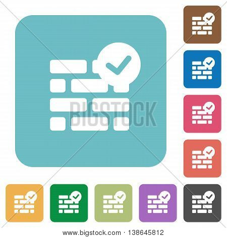 Flat active firewall icons on rounded square color backgrounds.