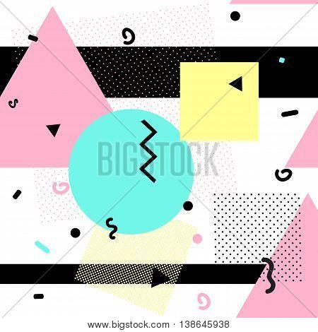 Geometric seamless pattern, trendy memphis cards design. 1980s retro background template. Vector eps 10 format.