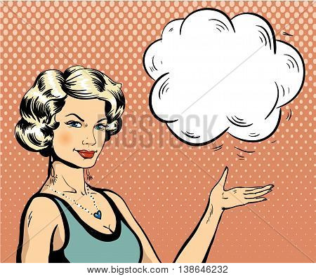 Woman with speech bubble in retro pop art style. Comic vector illustration.