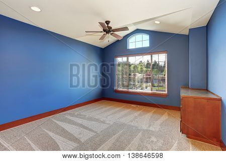 Blue Empty Room Interior With Vaulted Ceiling And Carpet Floor.