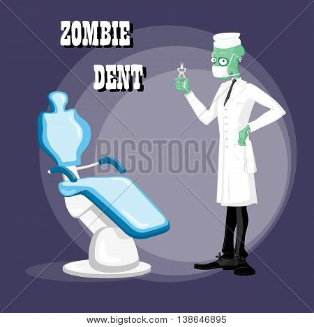 Concept design poster for halloween dental clinic with cute elegant zombie doctor drawing in funny cartoon retro style. Vector illustration