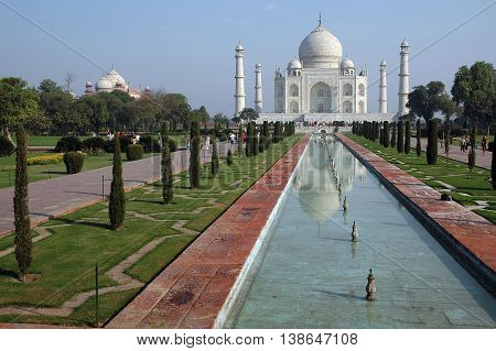 Agra, Uttar Pradesh, India - march 07, 2006: View of the gardens and the main building of the Taj Mahal
