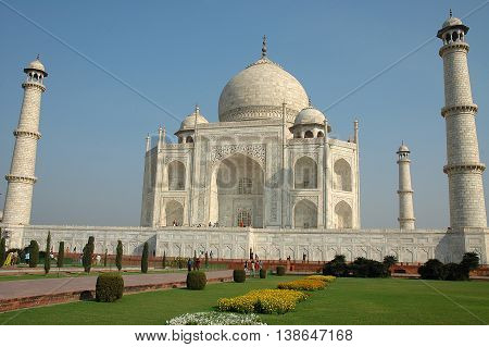 Agra, Uttar Pradesh, India - march 07, 2006: View of the Taj Mahal mausoleum built in white marble