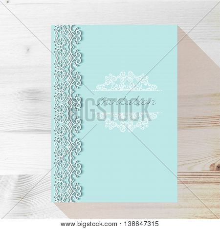 Vintage Wedding card or invitation with abstract lace seamless background and borders on a realistic wood texture