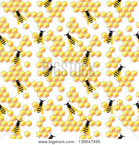 Seamless Abstract Vector Pattern, Yellow Background With Honeycombs And Wasps