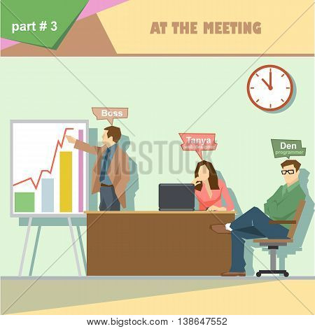 Business company roles situation infographics with boss web designer and programmer in a meeting at work. Digital vector image