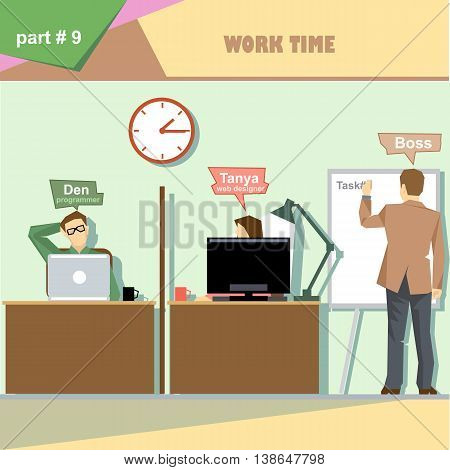 Business company roles situation infographics with boss making a presentation at the white board for programmer and web designer at work. Digital vector image