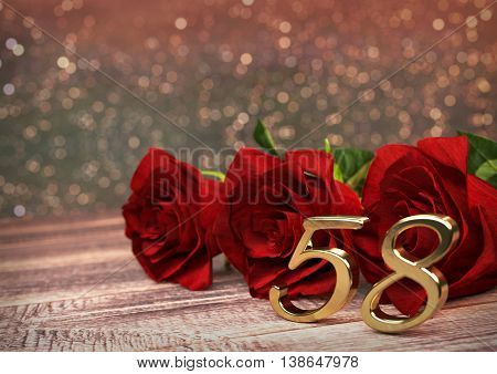 birthday concept with red roses on wooden desk. 3D render - fifty-eighth birthday. 58th