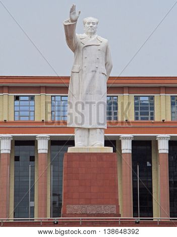 Chengdu China - June 14 2015: statue of Mao Zedong on square in Chengdu China