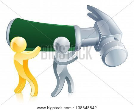 An Illustration Of Two Men With A Giant Hammer