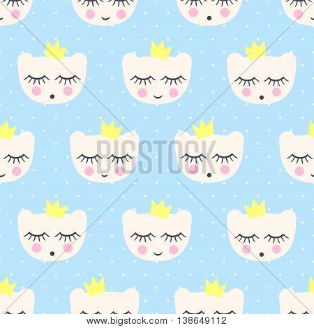 Seamless pattern with smiling sleeping bears with crowns. Baby shower vector background. Child drawing style teddy bears on blue polka dot background. Cute design for print on baby's clothes.