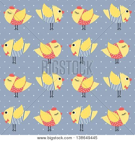 Birdie seamless pattern polka dots background. Cute cartoon girl and boy birds vector illustration. Chicks with red bow tie, beret, dress and striped frock. Cute design for print on baby's clothes.