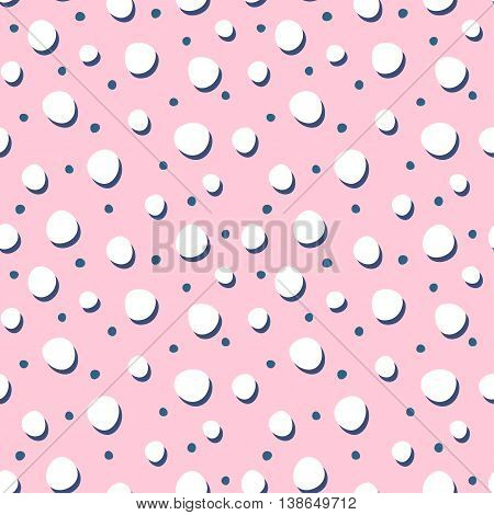 Abstract seamless backgrounds with dots and spots. Cute vector seamless patterns. Pink girlish background.