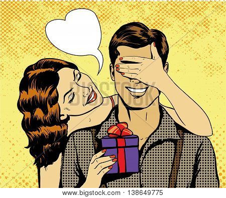 Woman present gift to man. Heart shape speech bubble. Vector illustration in retro comic pop art style. Beautiful girl with christmas or birthday gift.