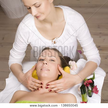 stock photo attractive lady getting spa treatment in salon, massage doctor smiling care pretty, perfect real people concept
