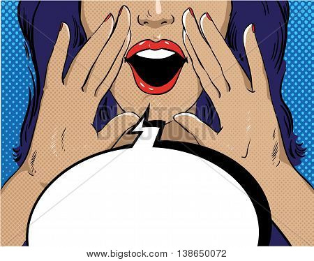 Woman with speech bubble in retro pop art style. Girl screaming template comic vector illustration. Face with open mouth.