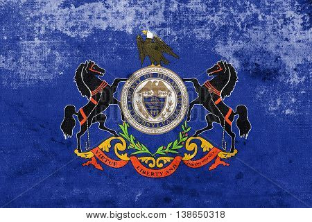 Flag Of Delaware County, Pennsylvania, Usa, With A Vintage And O