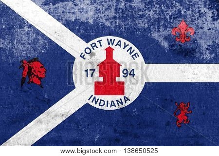 Flag Of Fort Wayne, Indiana, Usa, With A Vintage And Old Look