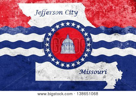 Flag Of Jefferson City, Missouri, Usa, With A Vintage And Old Lo