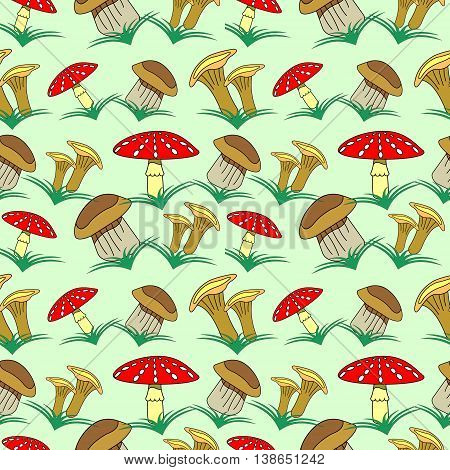 Seamless Vector Pattern With Mushrooms