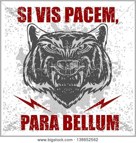 Monochrome Latin quotation Si vis pacem para bellum by Vegetius translated as if you want peace prepare for war
