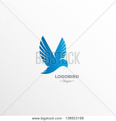 Fun, beauty, isolated, cartoon calibri flutters in the air, rectangular vector shape, minimalism, flat stylized logotype, blue bird, hummingbirds, eagle, dove wings feathers tail beakelement logo