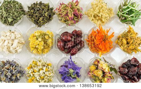 Various Dried Plants For Making Perfect Tea