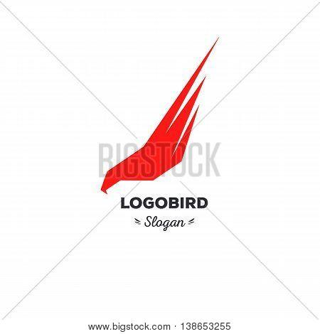 Isolated, cartoon, geek, strict eagle flying, triangular vector shape, minimalism, flat, stylish, geometric stylized logotype, red color logo template, bird wings feathers eagle element logo