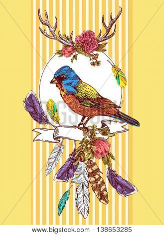 Beautiful hand drawn vector  illustration bird and flowers. Boho style drawing.