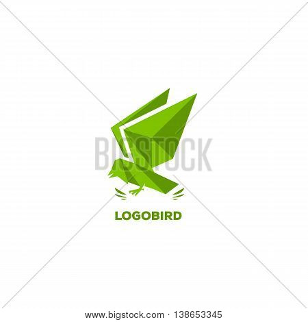 Geometric flowing eagle. Triangular shape, polygonal stylization, green color logo template. Bird, triangles, crystal, glass, faces, polygons, wings hawk tit dove sparrow cuckoo logo element