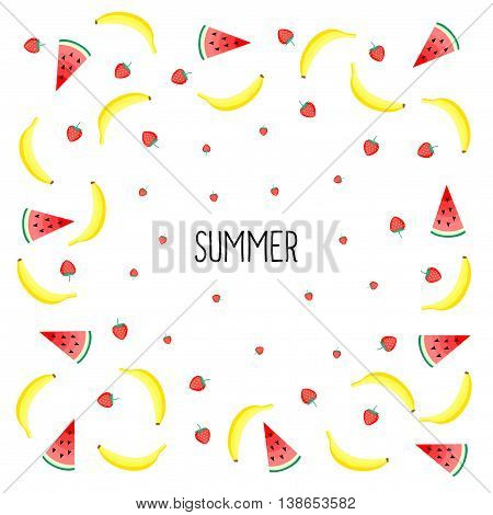 Summer card. Fruits design with yellow bananas, watermelon and juicy strawberries on white background. Cute vector background. Bright summer fruits illustration. Fruit mix design card.
