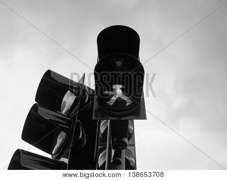 Green Light Traffic Signal In Black And White