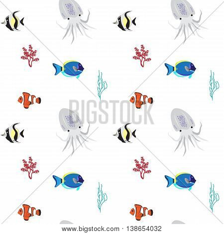 Sea color flat design fish Tropical fish set on wihite background