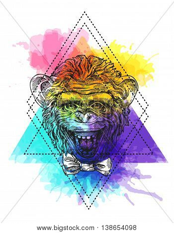 Beautiful hand drawn illustration head of monkey. Sketch style. Use for poster, tattoo, print for t-shirt.