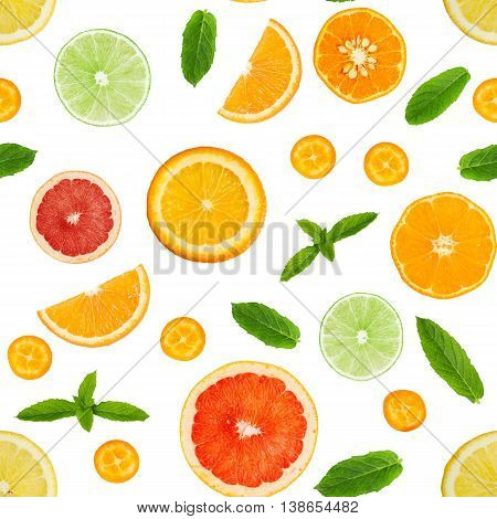 Citrus Seamless Pattern Isolated On White Background.