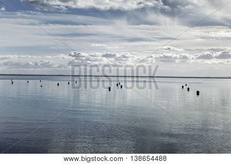 Panorama of sea and cloudy sky near Bordeaux France