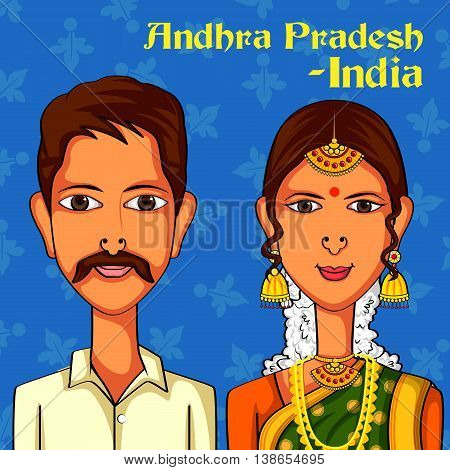 Vector design of Andhrait Couple in traditional costume of Andhra Pradesh, India