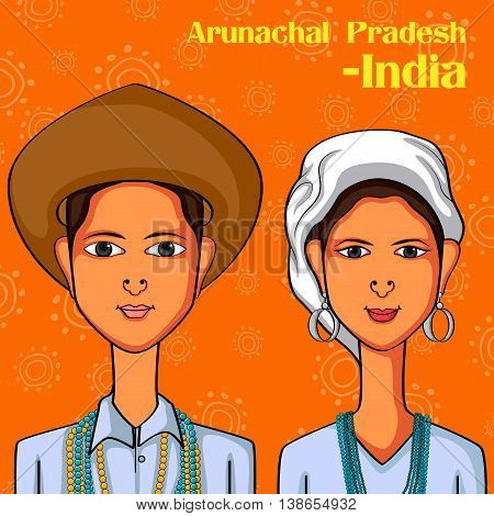 Vector design of Arunachali Couple in traditional costume of  Arunachal Pradesh, India