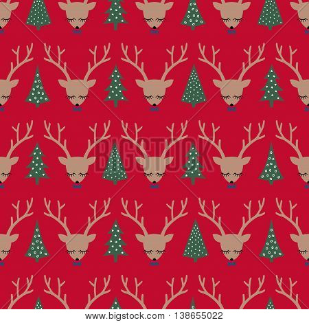 Deers and Xmas Trees seamless pattern on red background. Christmas deer head silhouette background. Winter holiday vector illustration, card. Design for textile, wallpaper, web, fabric, decor etc.